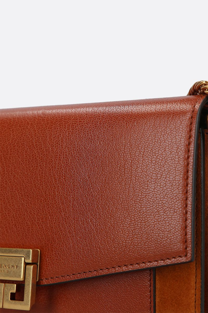GIVENCHY: GV3 smooth leather and suede chain wallet Color Brown_4