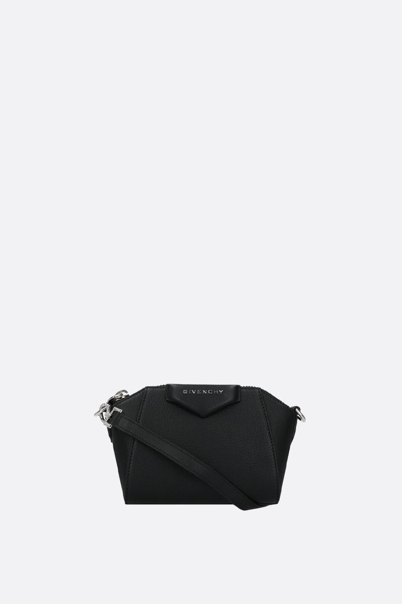 GIVENCHY: nano Antigona grainy leather crossbody bag Color Black_1