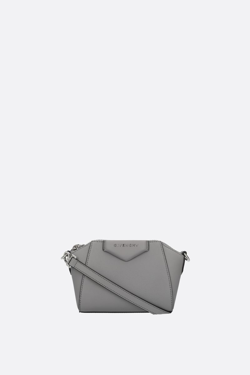 GIVENCHY: nano Antigona grainy leather crossbody bag Color Grey_1