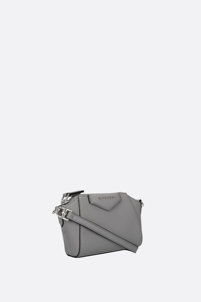 GIVENCHY: nano Antigona grainy leather crossbody bag Color Grey_2