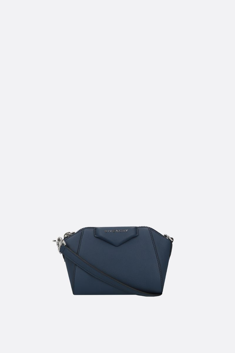 GIVENCHY: nano Antigona grainy leather crossbody bag Color Blue_1