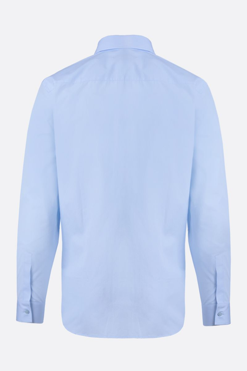 GIVENCHY: GIVENCHY Split embroidered cotton shirt Color Blue_2
