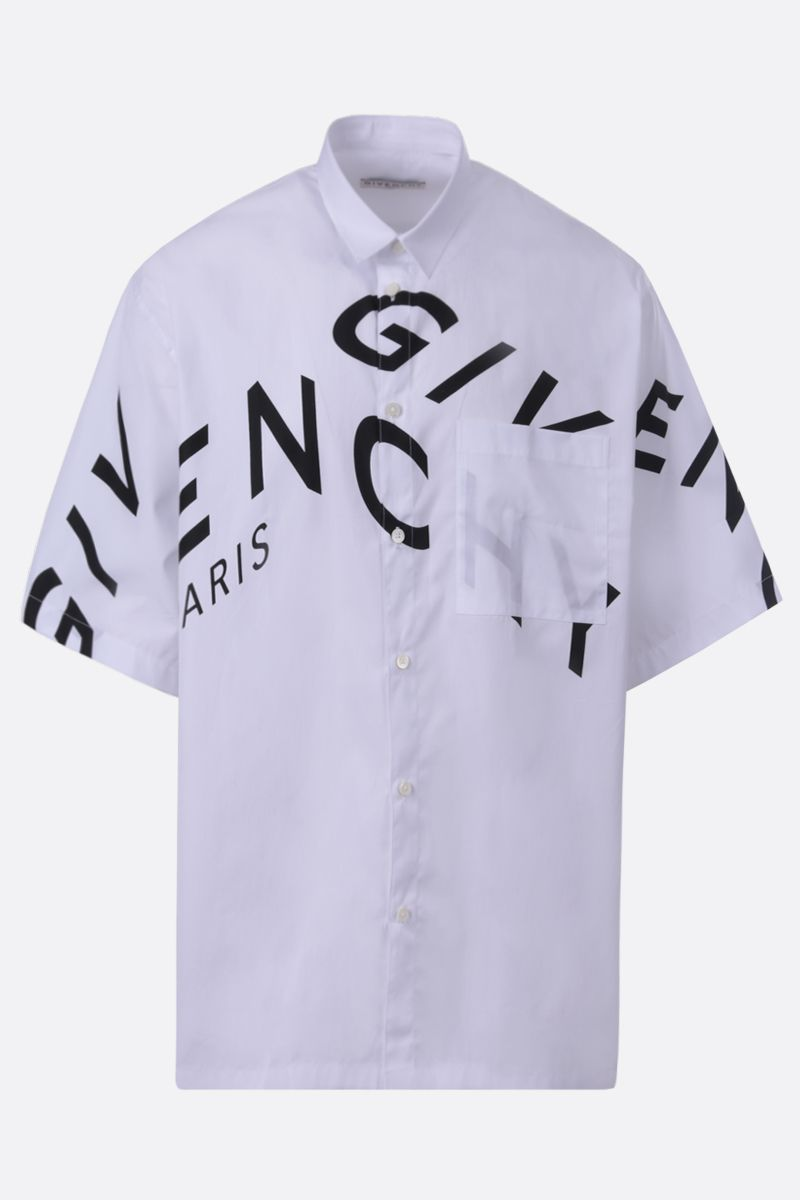 GIVENCHY: GIVENCHY Refracted print cotton short-sleeved shirt Color White_1