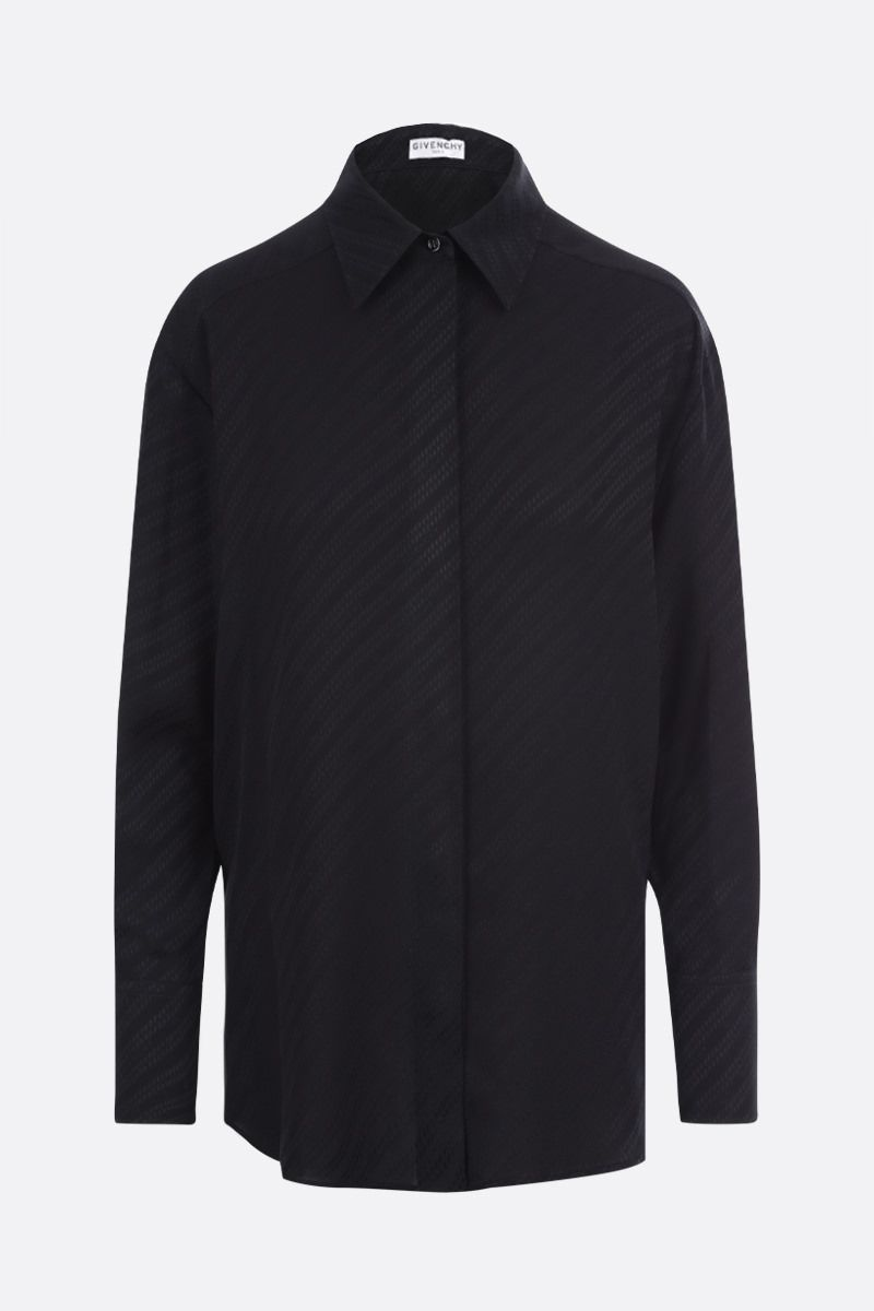 GIVENCHY: Givenchy Chaine motif silk shirt Color Black_1