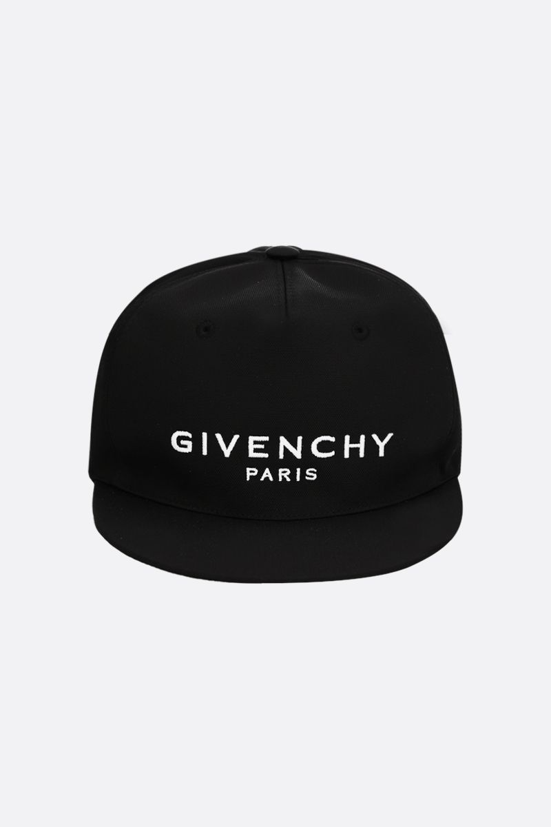 GIVENCHY: cappellino baseball in canvas ricamo logo Colore Nero_1