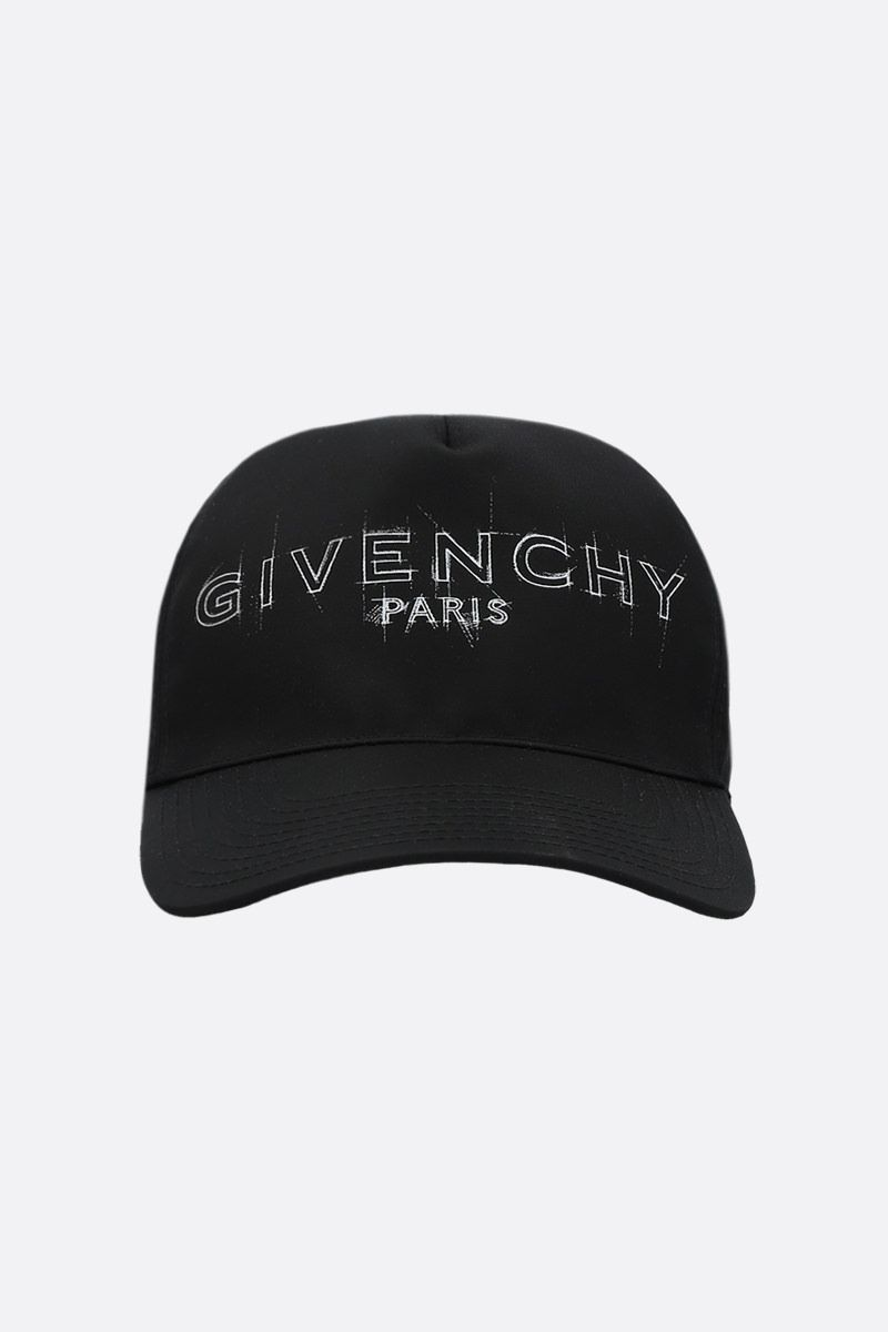 GIVENCHY: cappello baseball in nylon stampa logo Colore Nero_1
