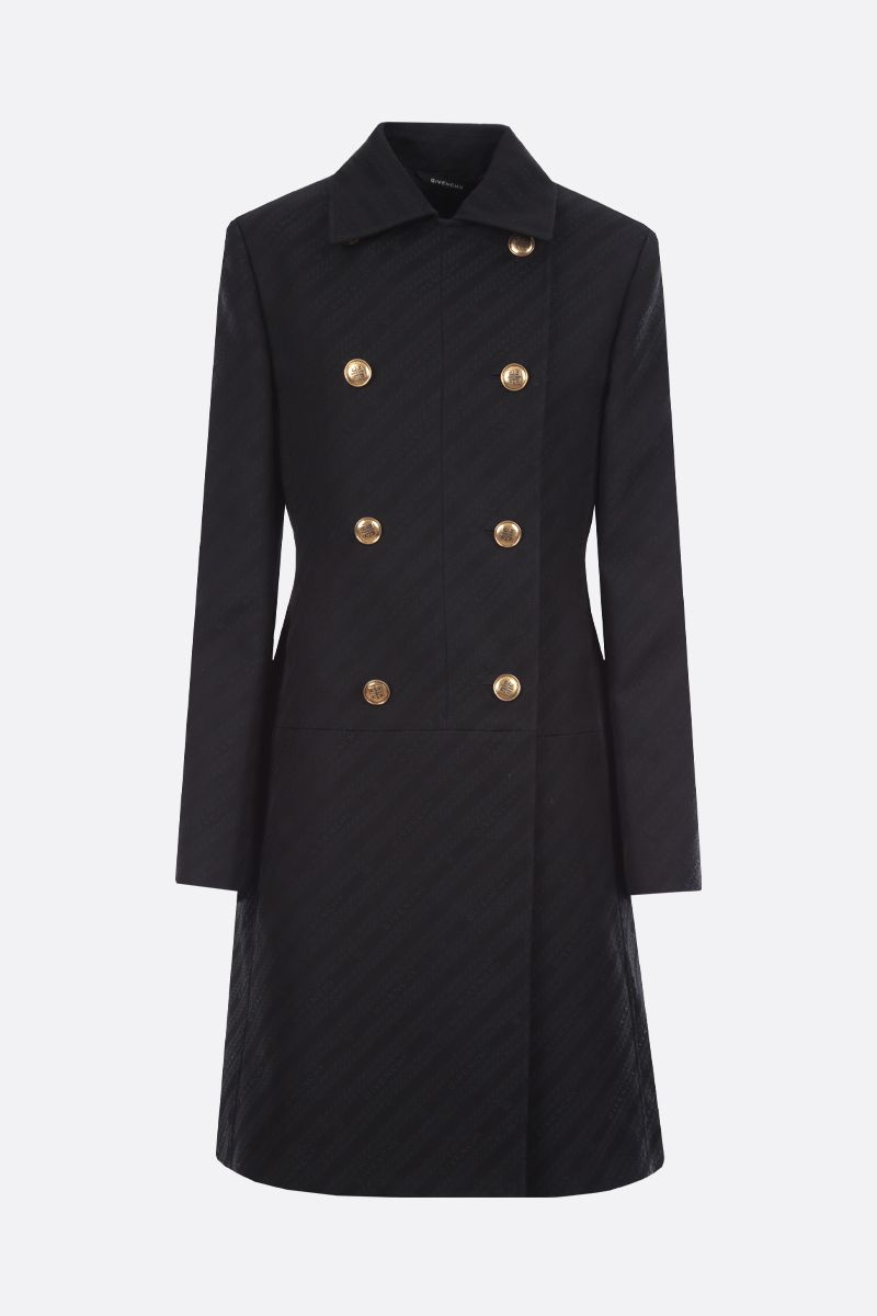 GIVENCHY: Givenchy Chaine-motif jacquard double-breasted coat Color Black_1