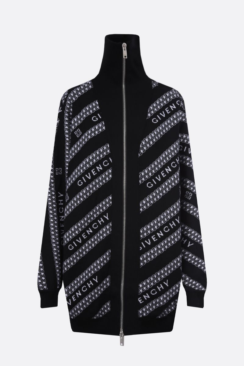 GIVENCHY: Givenchy Chaine wool oversize cardigan Color Black_1
