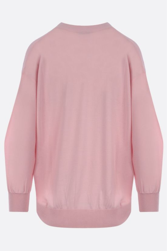 GIVENCHY: floral embroidery wool silk blend cardigan Color Pink_2