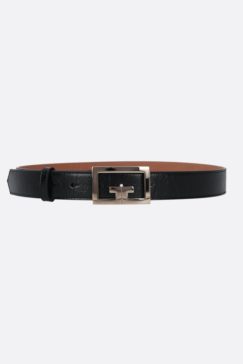 GIVENCHY: Double G buckle-detailed Vintage leather belt Color Black_1