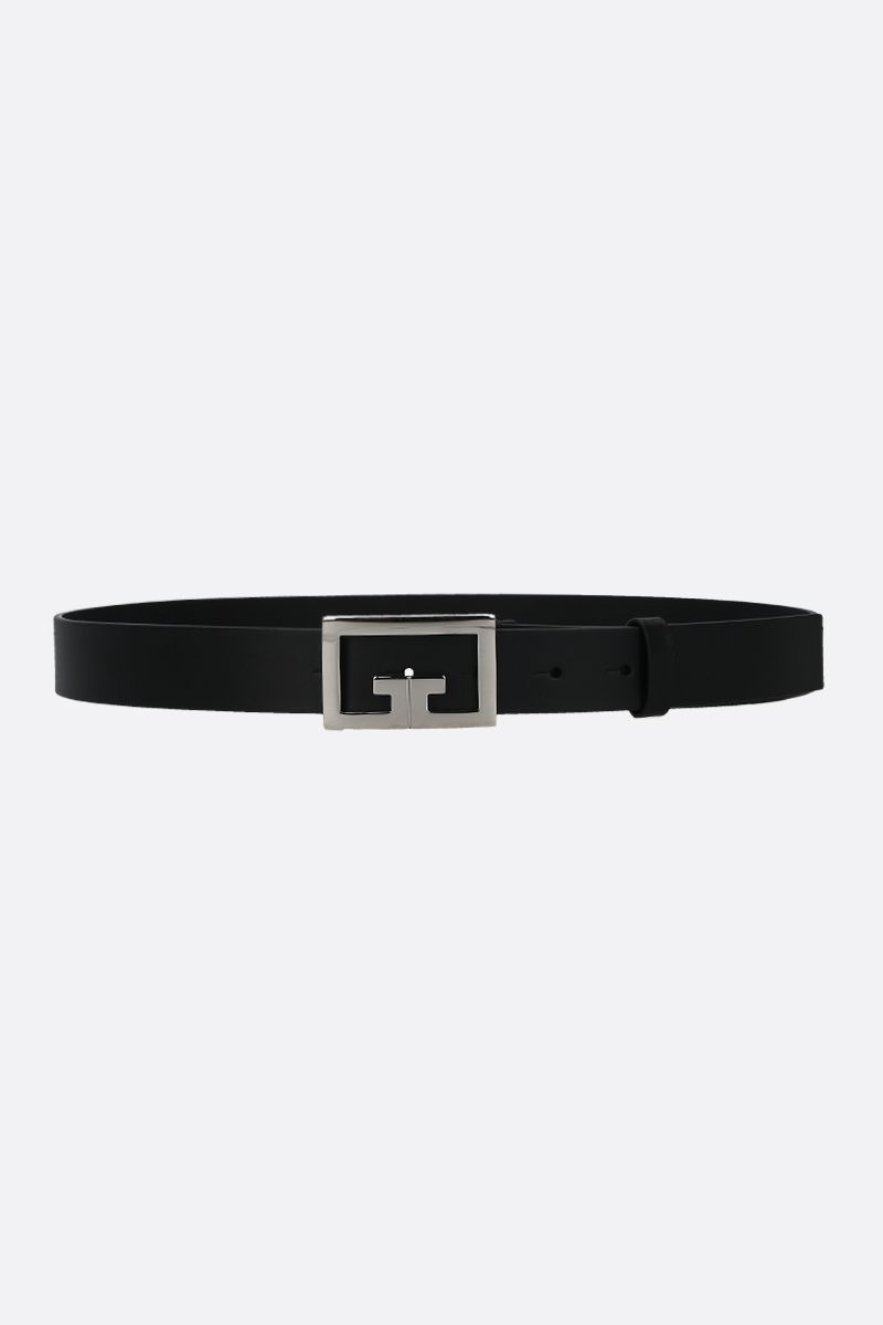 GIVENCHY: Double G buckle-detailed smooth leather belt Color Black_1