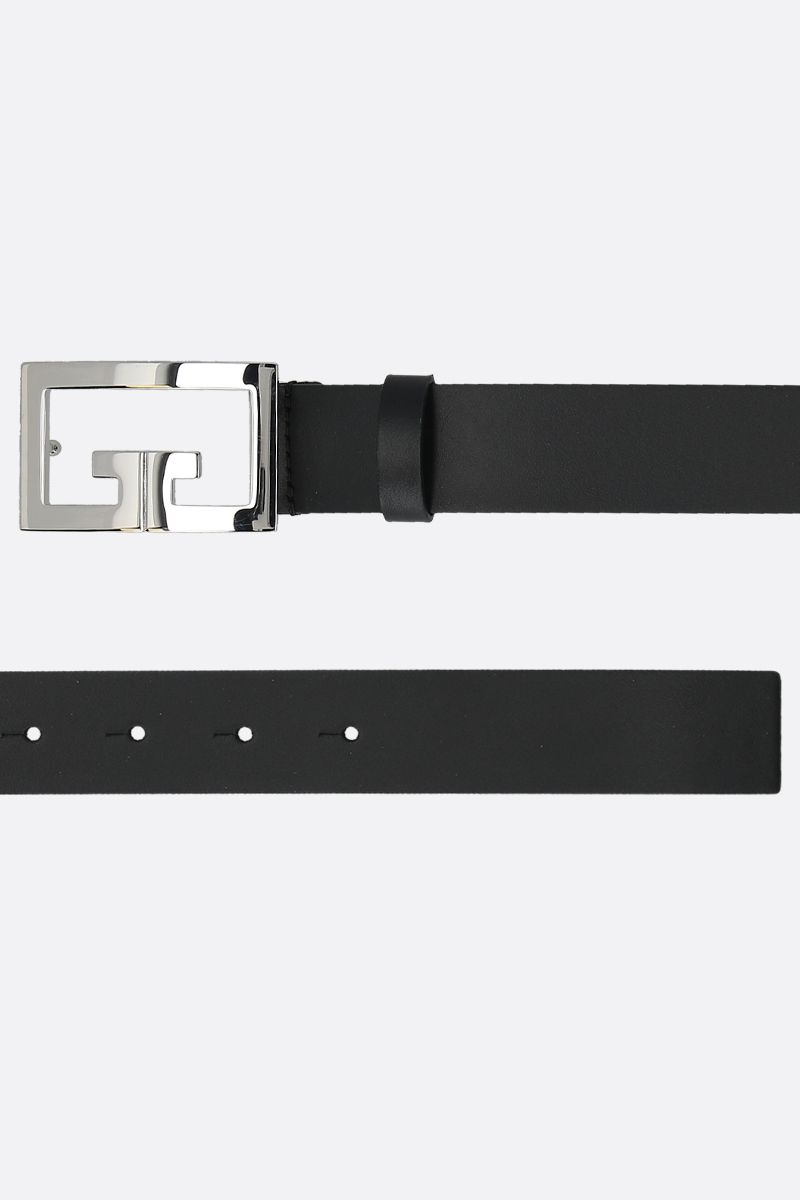 GIVENCHY: Double G buckle-detailed smooth leather belt Color Black_2