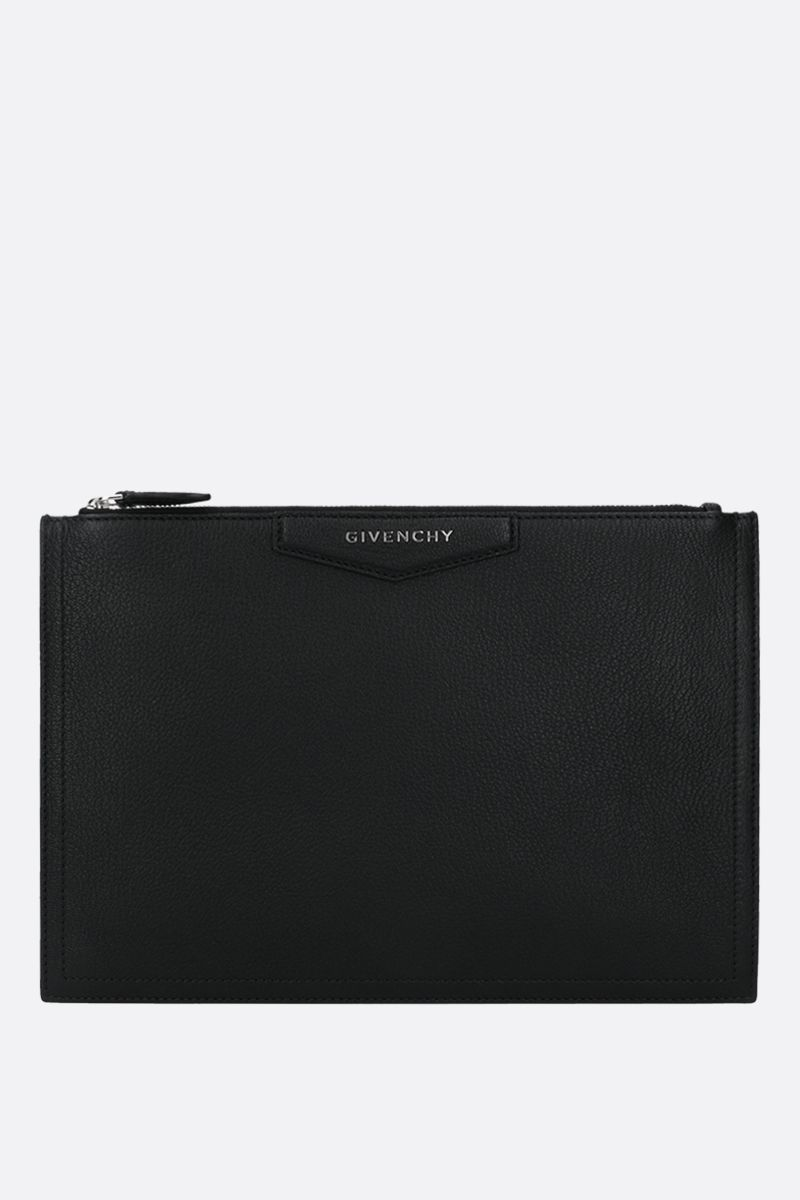 GIVENCHY: Antigona medium grainy leather pouch Color Black_1
