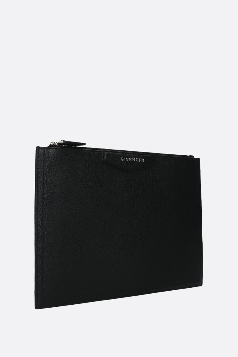 GIVENCHY: Antigona medium grainy leather pouch Color Black_2
