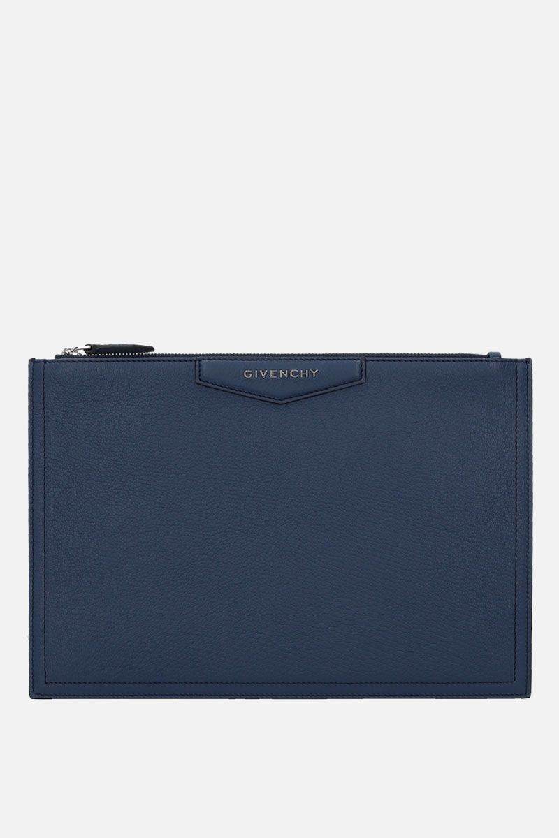 GIVENCHY: Antigona medium grainy leather pouch Color Blue_1