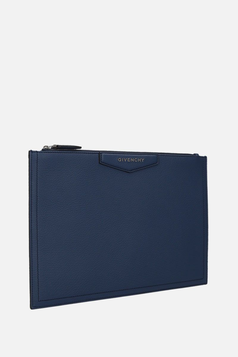 GIVENCHY: Antigona medium grainy leather pouch Color Blue_2