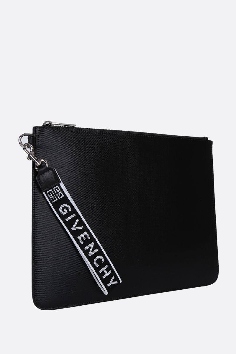 GIVENCHY: busta large in canvas resinato Colore Nero_2
