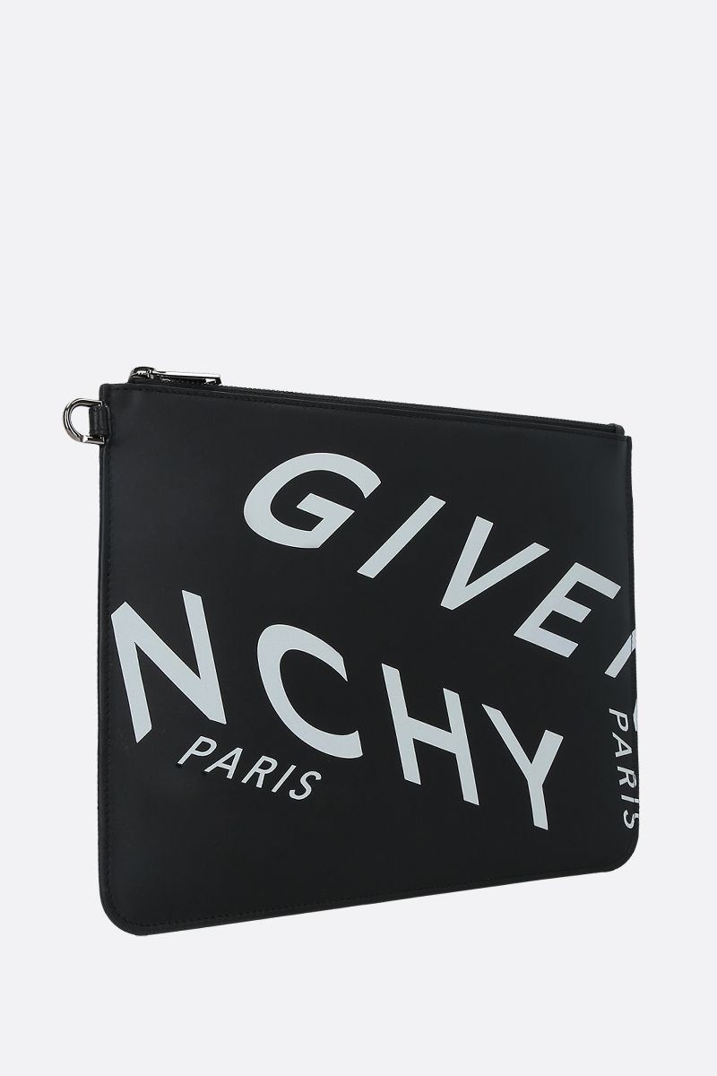 GIVENCHY: Givenchy Refracted smooth leather clutch Color Black_2