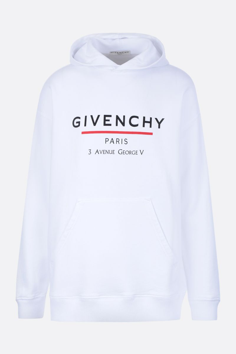 GIVENCHY: Givenchy Label cotton hoodie Color White_1