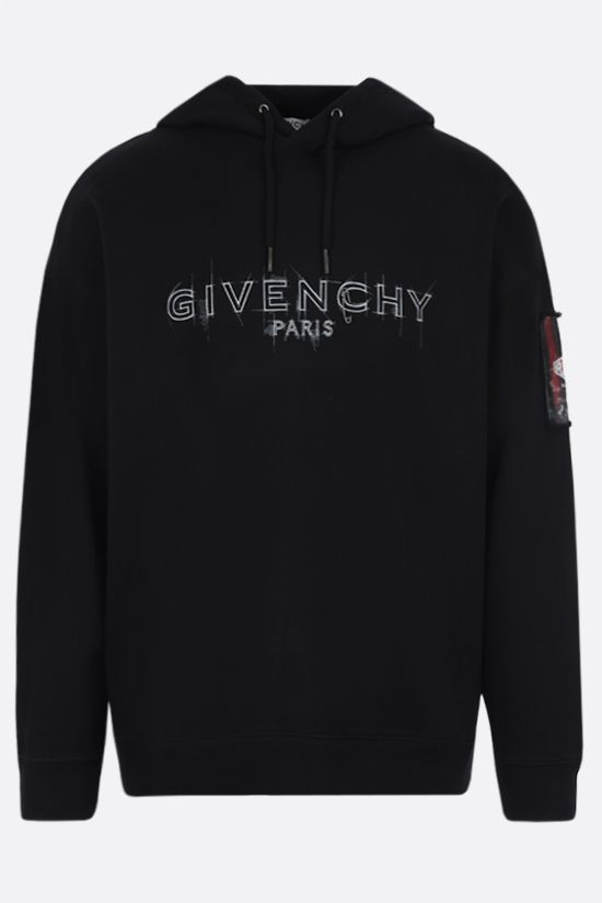 GIVENCHY: Givenchy Paris print cotton hoodie Color Black_1