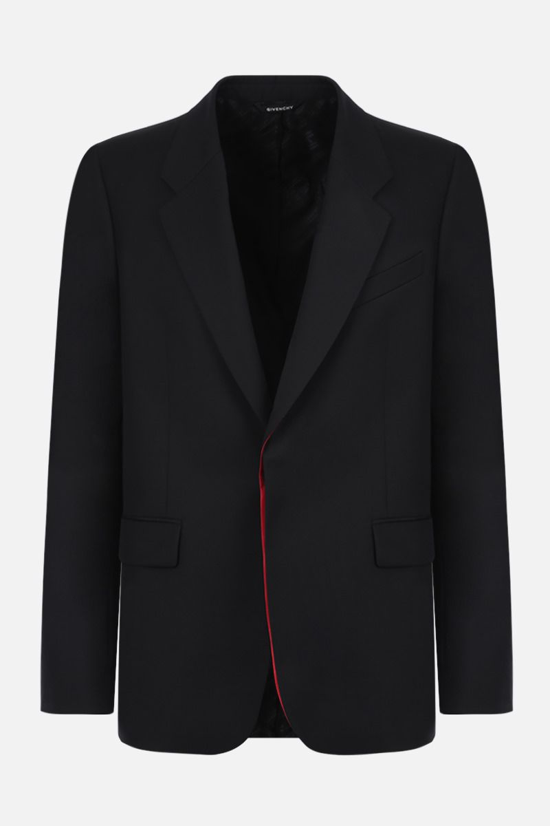 GIVENCHY: contrast-detailed single-breasted wool jacket Color Black_1