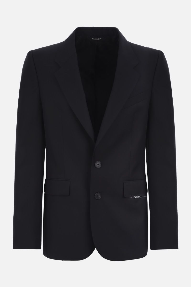 GIVENCHY: logo-detailed wool single-breasted jacket Color Black_1