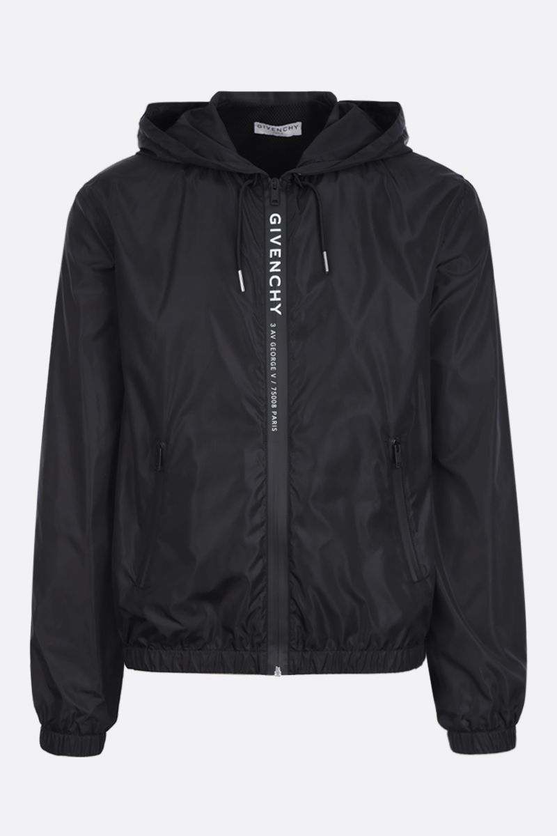 GIVENCHY: logo print nylon windbreaker Color Black_1
