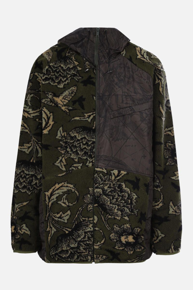 GIVENCHY: giubbotto full-zip in pile e nylon stampa Astral Colore Verde_1