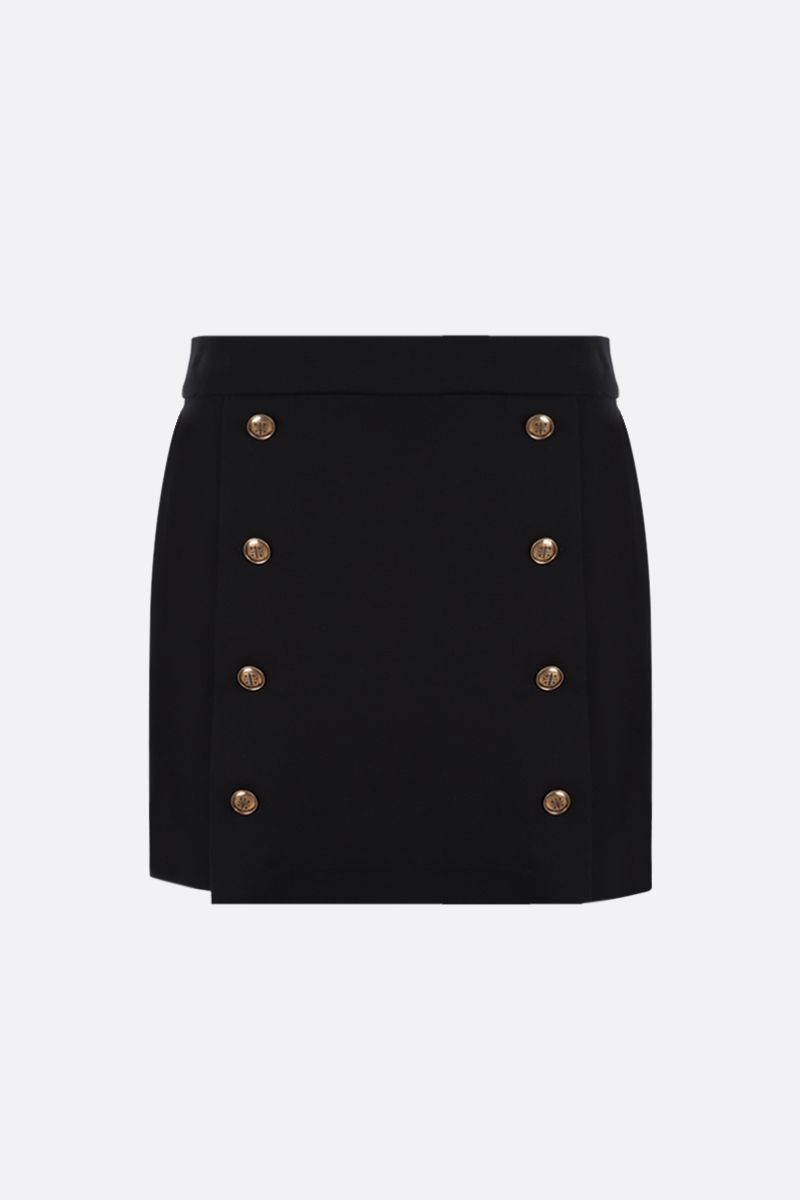 GIVENCHY: 4G button-detailed stretch cady A-line miniskirt Color Black_1