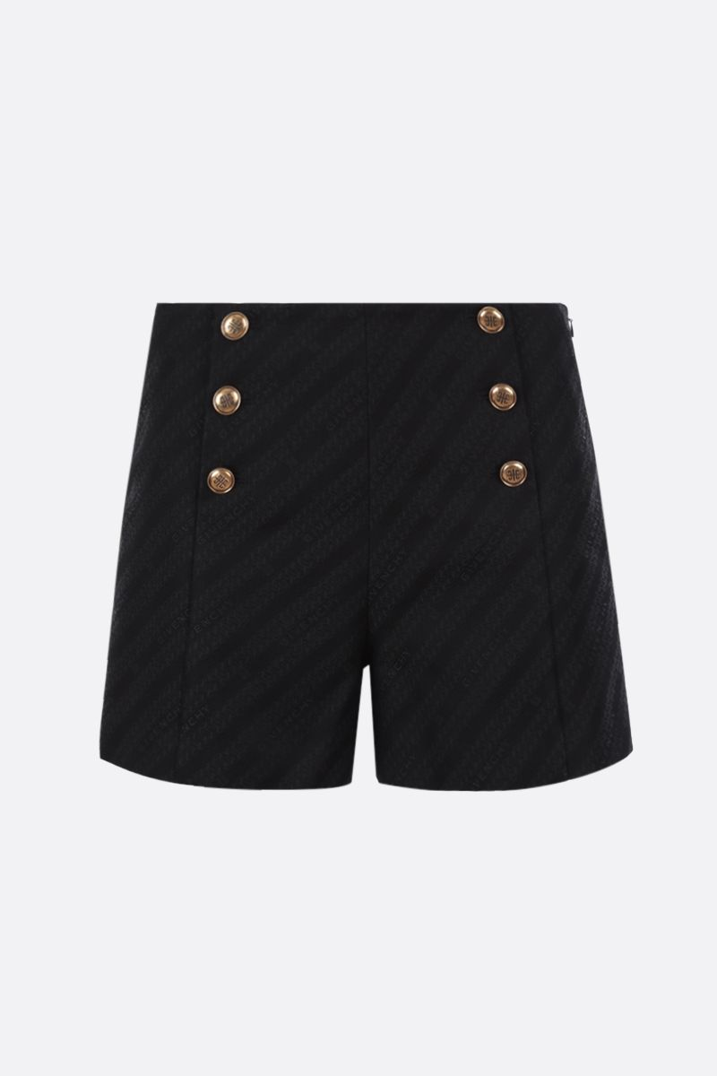 GIVENCHY: pantalone corto in jacquard a motivo Givenchy Chaine Colore Nero_1