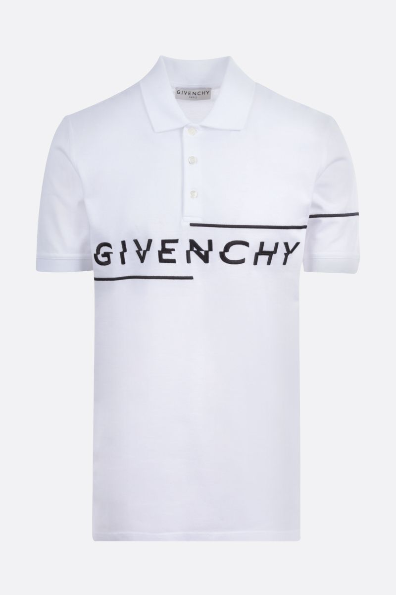 GIVENCHY: Givenchy Split embroidered cotton polo shirt Color White_1