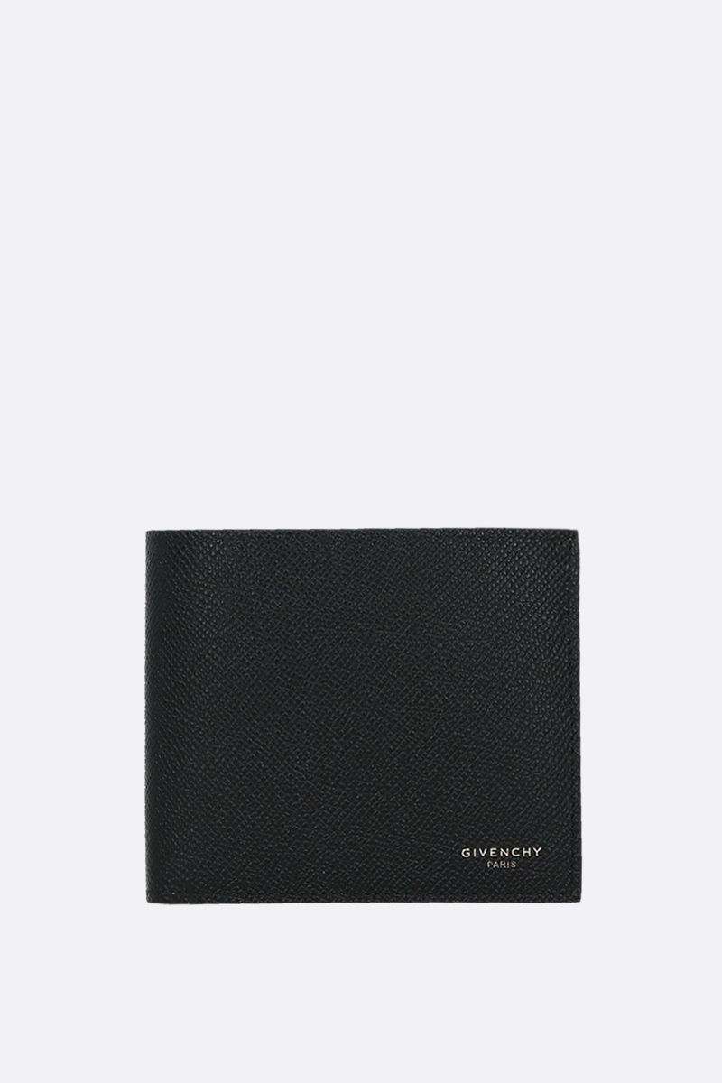 GIVENCHY: Givenchy Paris grainy leather billfold wallet Color Black_1