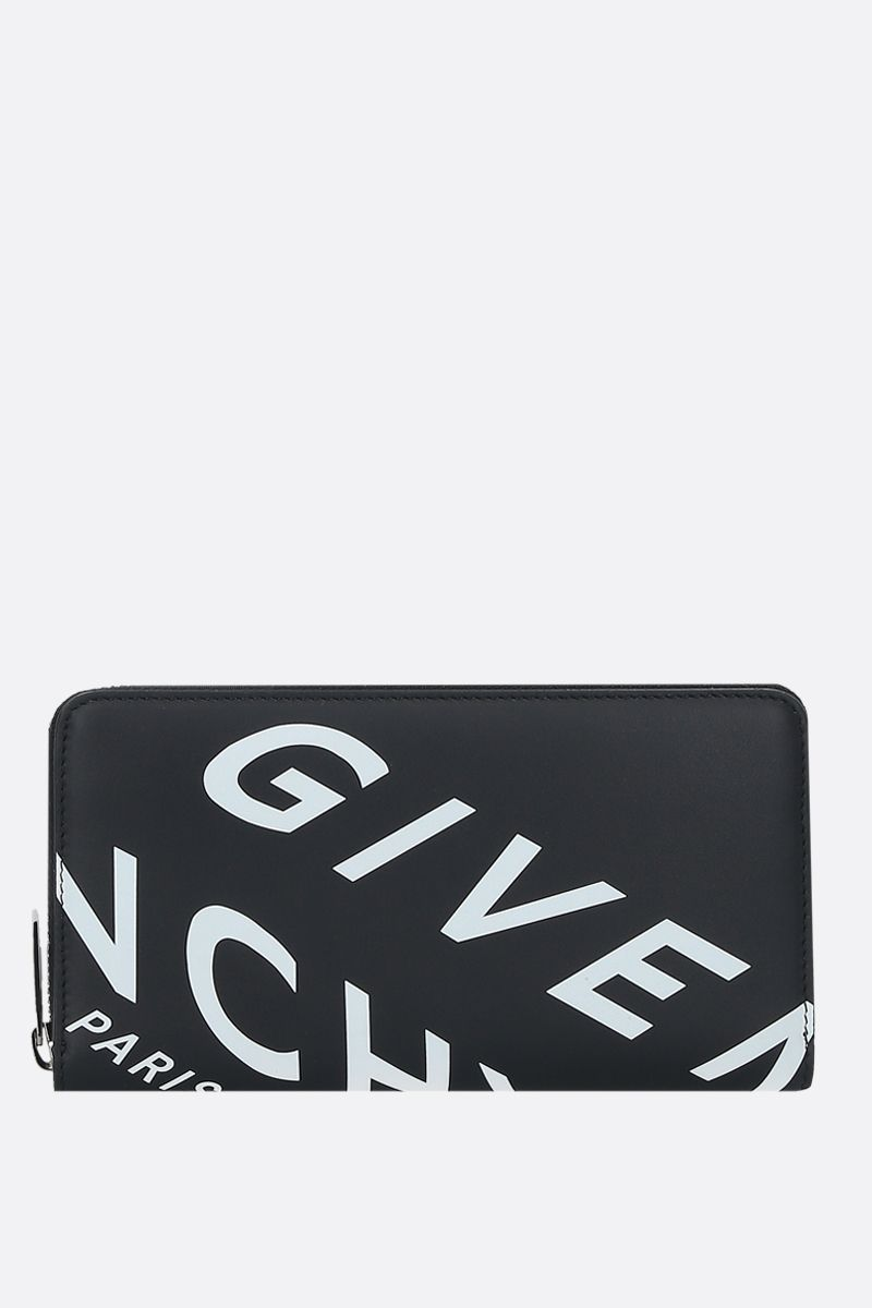 GIVENCHY: portafogli zip-around Givenchy Refracted in pelle liscia Colore Nero_1