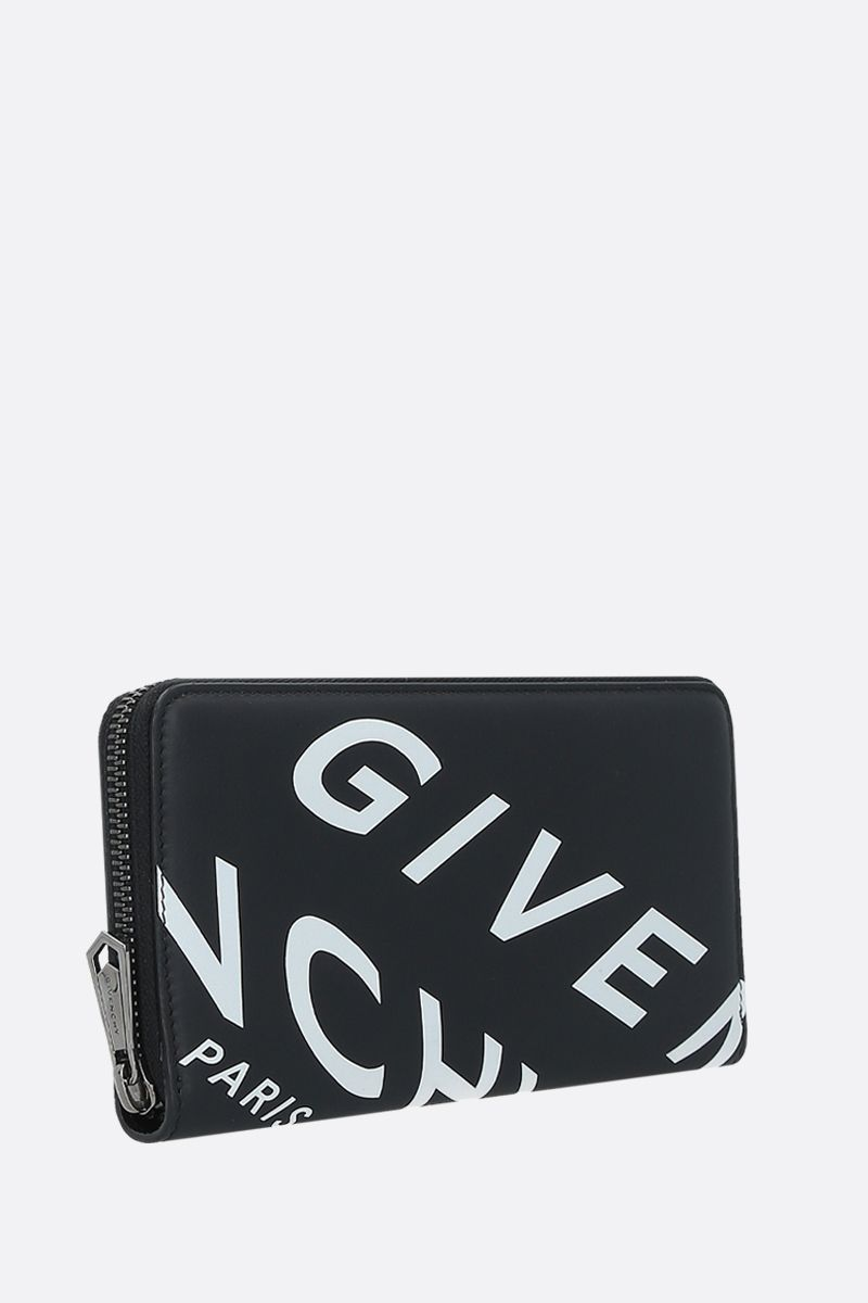 GIVENCHY: portafogli zip-around Givenchy Refracted in pelle liscia Colore Nero_2