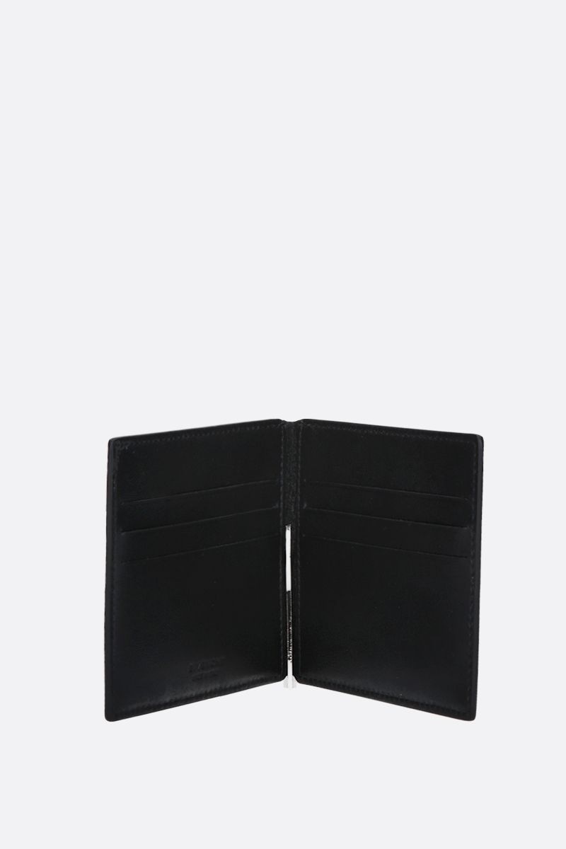 GIVENCHY: Givenchy Paris smooth leather money clip wallet Color Black_2