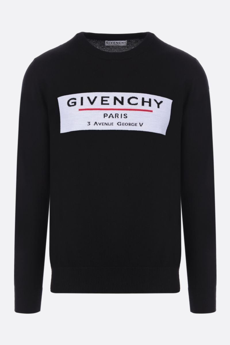 GIVENCHY: pullover in lana intarsio Givenchy Label Colore Nero_1