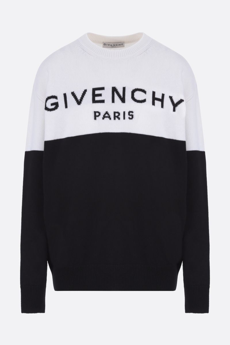 GIVENCHY: pullover oversize in cashmere intarsio Givenchy Paris Colore Nero_1