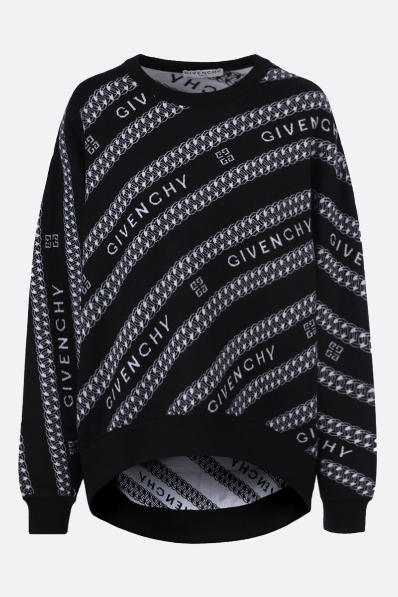 GIVENCHY: Givenchy Chaine oversize wool pullover Color Black_1
