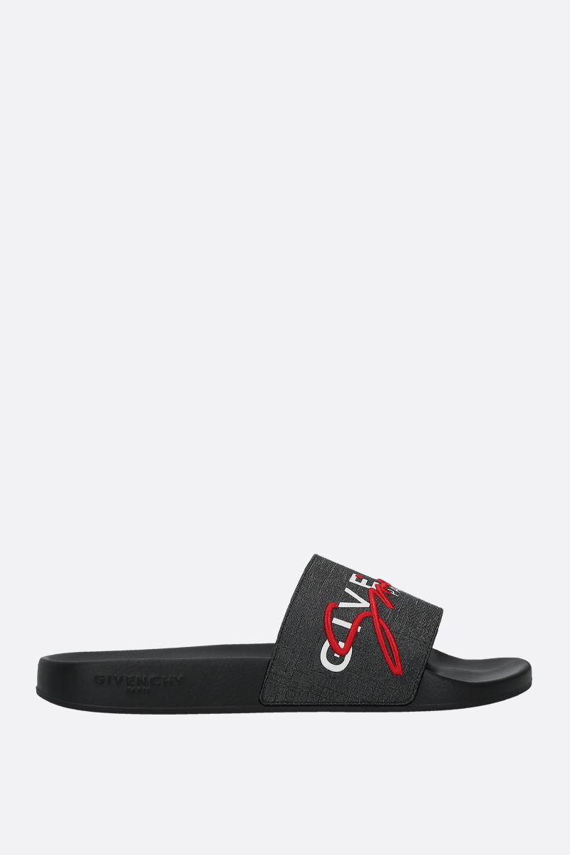 GIVENCHY: Givenchy-detailed coated canvas slide sandals Color Multicolor_1