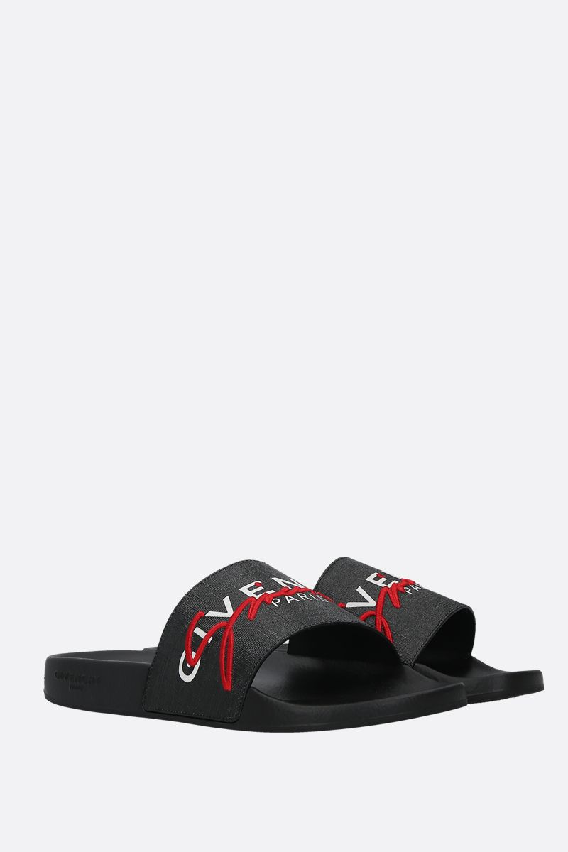 GIVENCHY: Givenchy-detailed coated canvas slide sandals Color Multicolor_2