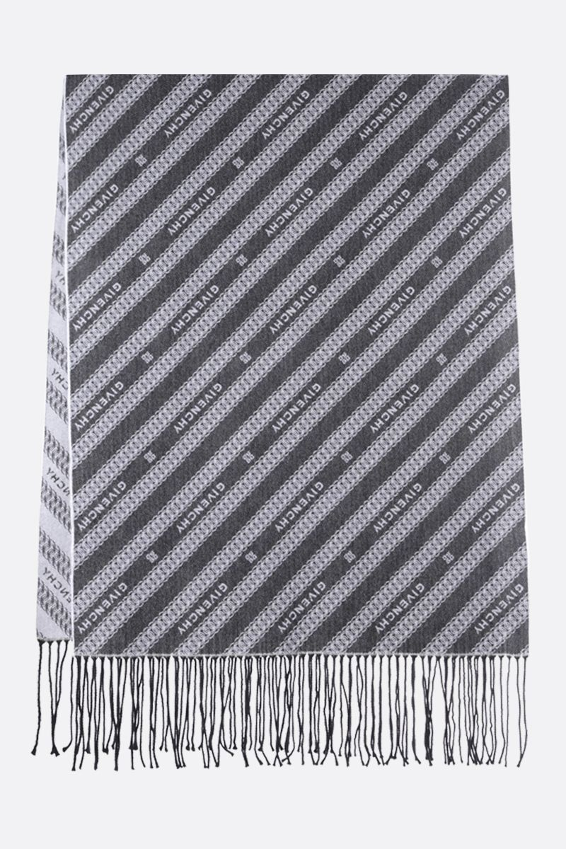 GIVENCHY: Givenchy Chaine motif wool blend scarf Color Black_2