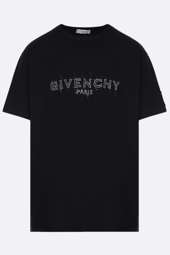 GIVENCHY: Givenchy Paris print cotton t-shirt Color Black_1