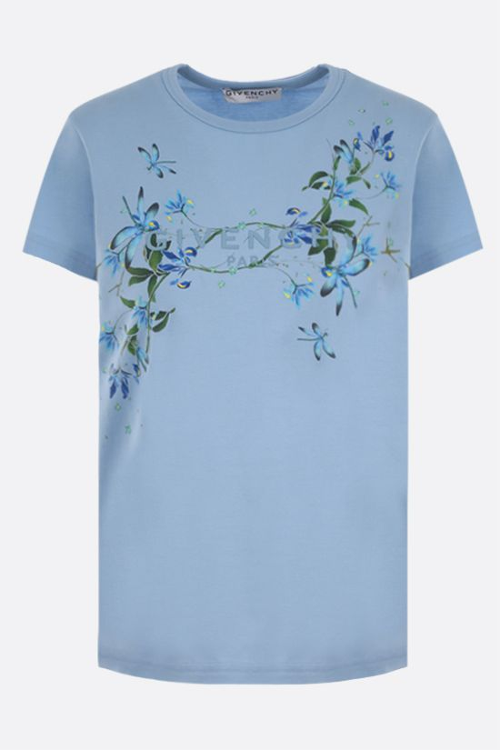 GIVENCHY: floral logo print cotton t-shirt Color Blue_1