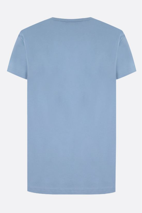 GIVENCHY: floral logo print cotton t-shirt Color Blue_2