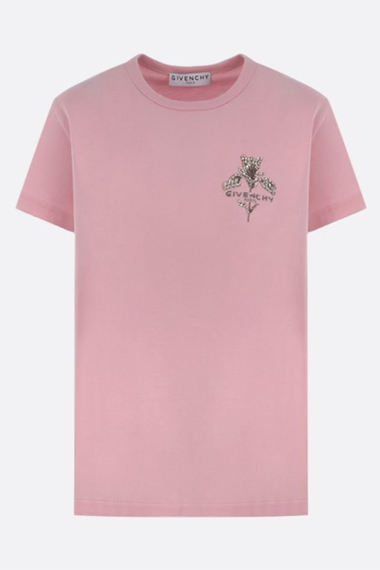 GIVENCHY: floral embroidery cotton t-shirt Color Pink_1