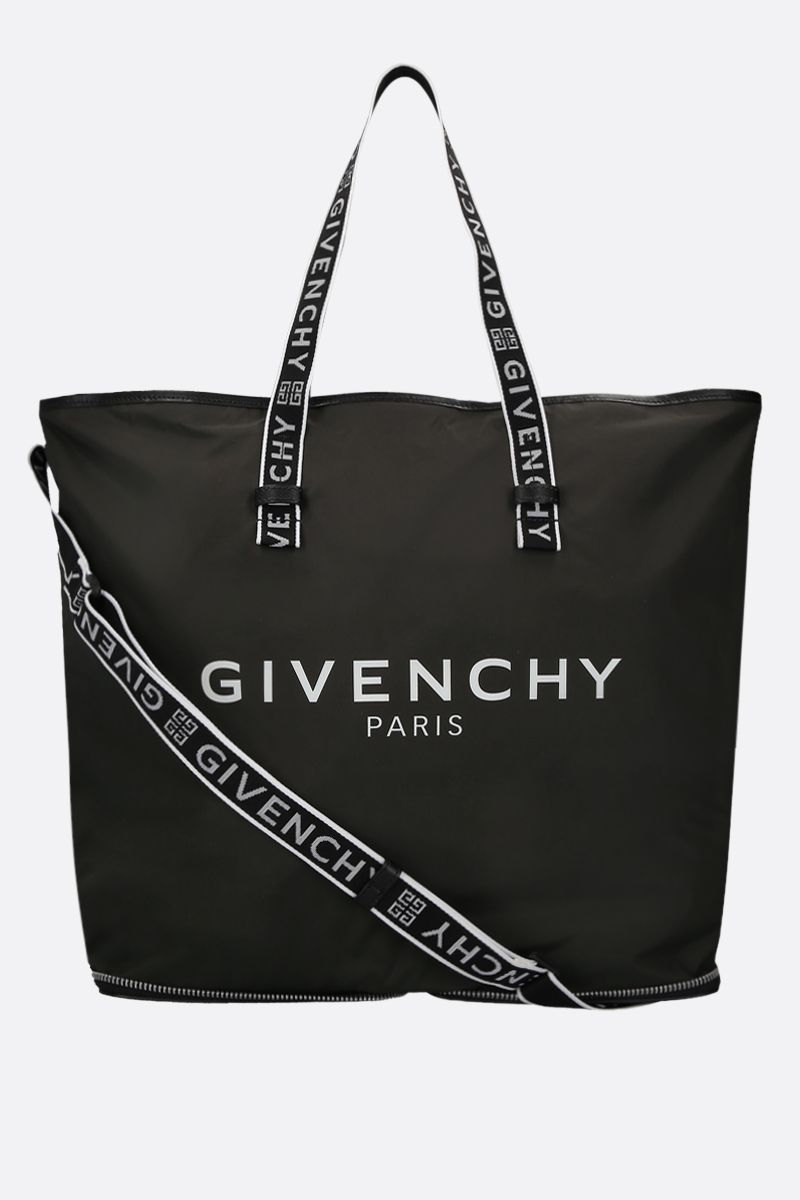GIVENCHY: Givenchy Paris print nylon foldable tote bag Color Black_1