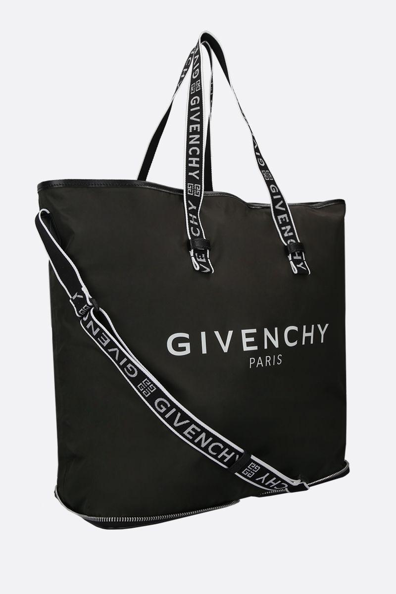 GIVENCHY: Givenchy Paris print nylon foldable tote bag Color Black_2