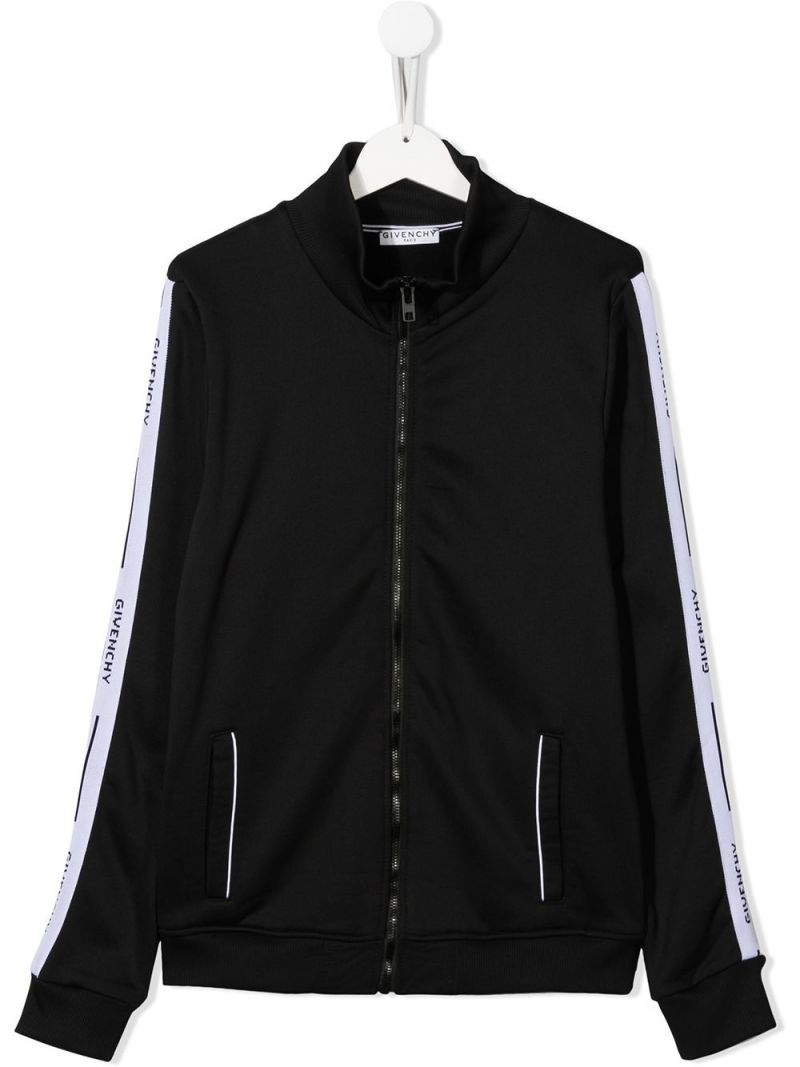 GIVENCHY KIDS: logoed badn-detailed cotton blend full-zip sweatshirt Color Black_1