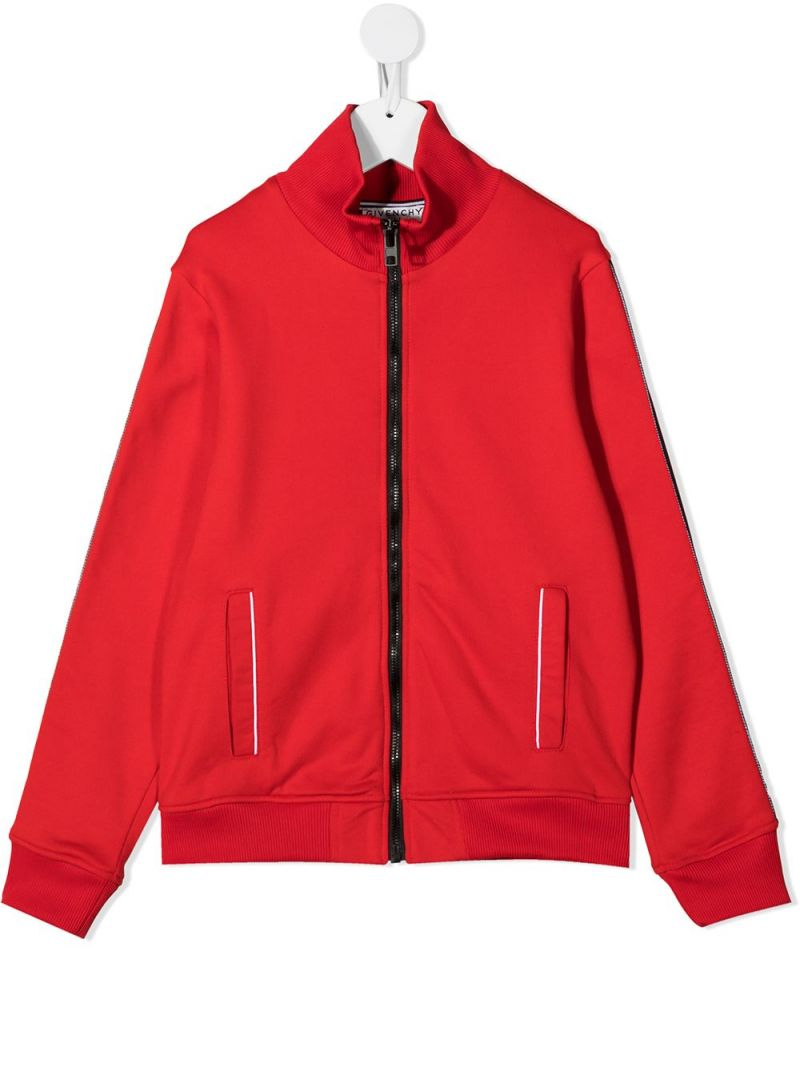 GIVENCHY KIDS: logoed badn-detailed cotton blend full-zip sweatshirt Color Red_1