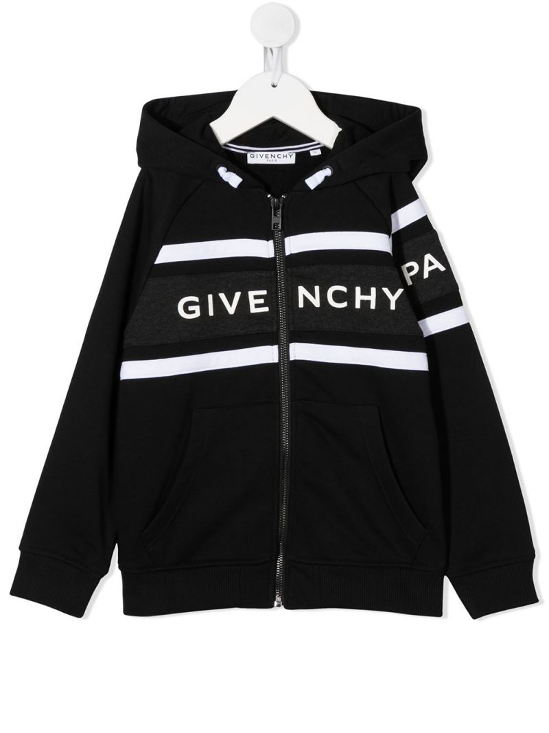 GIVENCHY KIDS: logo print cotton blend hoodie Color Black_1